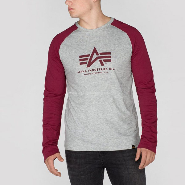 Alpha Industries Basic LS Tee Burgundy - XL