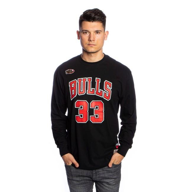 Mitchell & Ness Longsleeve Chicago Bulls black Number Print LS Tee