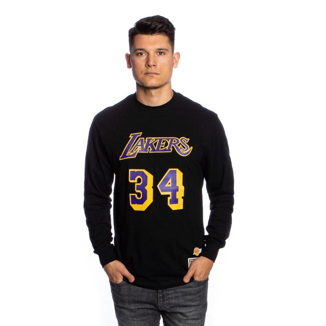 Mitchell & Ness Longsleeve Los Angeles Lakers black Number Print LS Tee