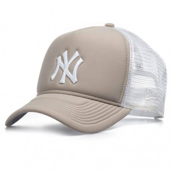 Kšiltovka New Era 9Forty Trucker Essential Aframe NY Yankees Grey White