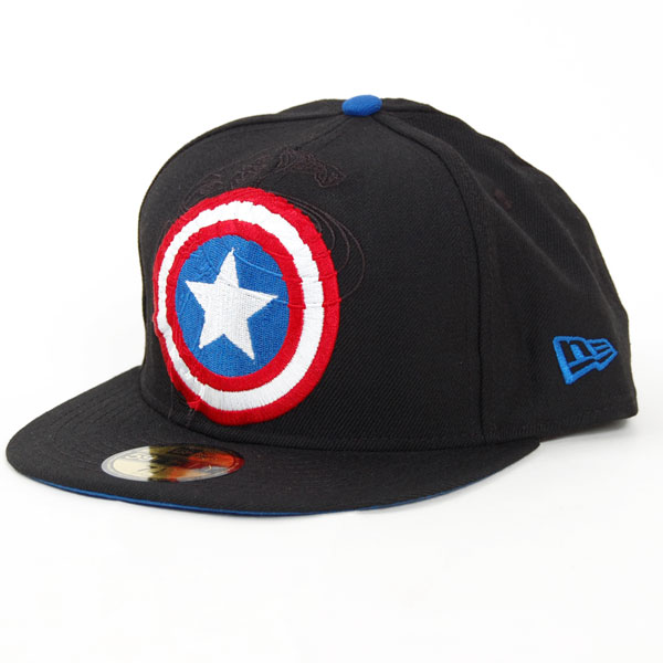 New Era Logo In Capt America Off Black - 7 1/4