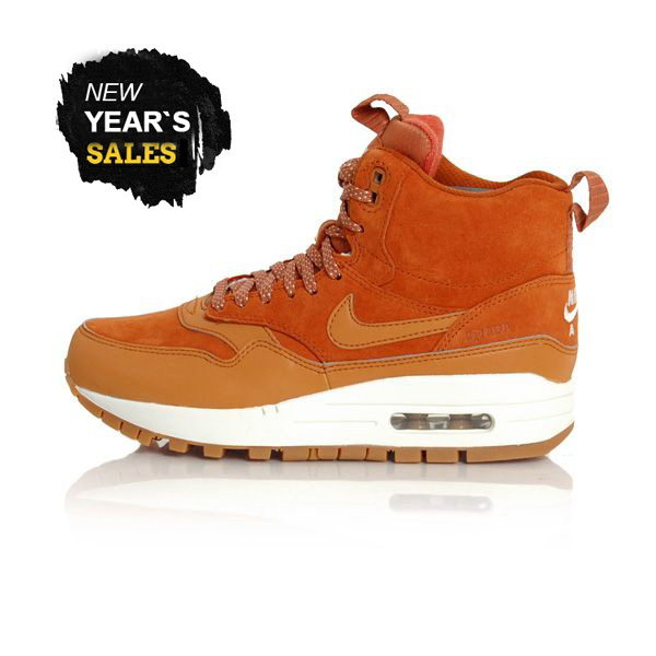 Nike WMNS Air Max 1 Mid Sneackerboot Tawny Sail Gum Med Brown 685267-200 - 37.5 - 6.5 - 4 - 23.5 cm