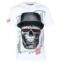 Tričko Blood In Blood Out Skull White Hat T-Shirt