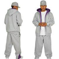 Hoodboyz Contrast Sweat Suit Grey Purple