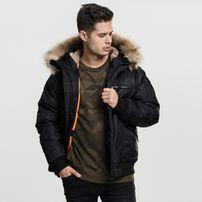 Urban Classics Hooded Heavy Fake Fur Bomber Jacket black