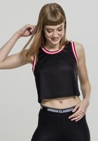 Urban Classics Ladies Cropped Mesh Top black/fire red/white