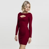 Dámské šaty Urban Classics Ladies Cut Out Dress burgundy