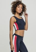 Urban Classics Ladies Side Stripe Cropped Zip Top navy/fire red/white
