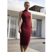 Urban Classics Ladies Stretch Jersey Turtleneck Dress burgundy