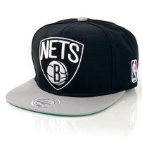 Mitchell & Ness XL Logo Brooklyn Nets 2 Tone Snapback Black Grey