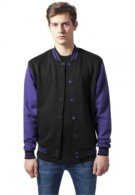Urban Classics 2-tone College Sweatjacket blk/pur - S
