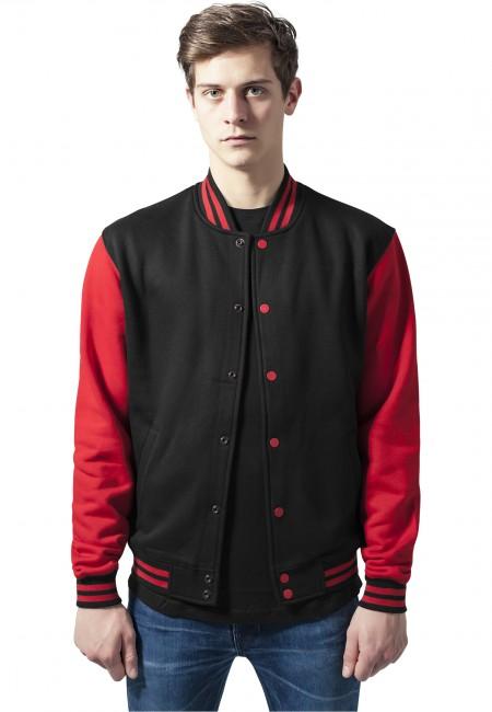 Urban Classics 2-tone College Sweatjacket blk/red - XS