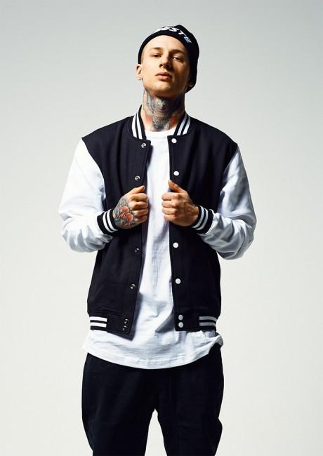 Urban Classics 2-tone College Sweatjacket blk/wht - XS