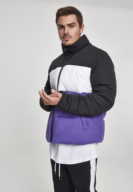 Urban Classics 3-Tone Boxy Puffer Jacket black/ultraviolet/white - S URBAN CLASSICS