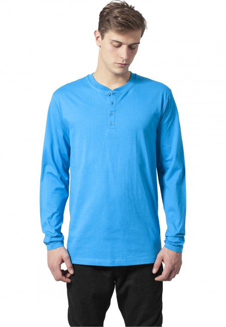 Urban Classics Basic Henley L/S Tee turquoise - XS