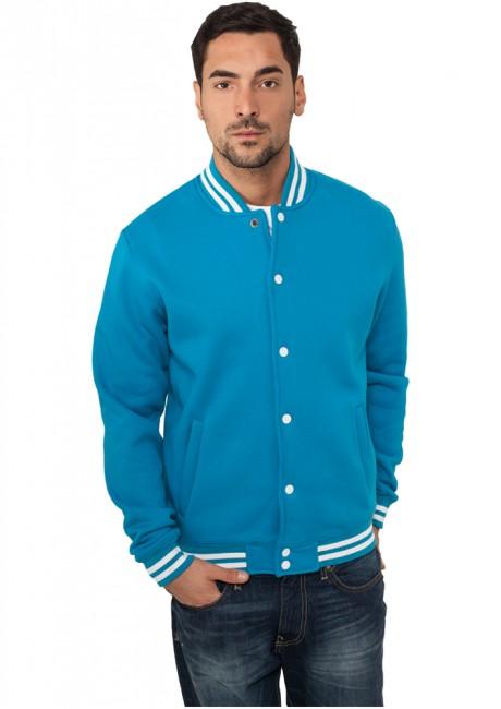 Urban Classics College Sweatjacket turquoise - XS