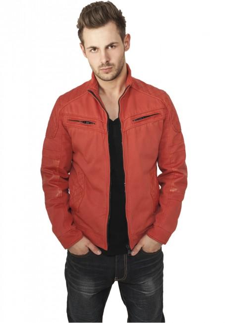 Urban Classics Cotton/Leathermix Racer Jacket red - L