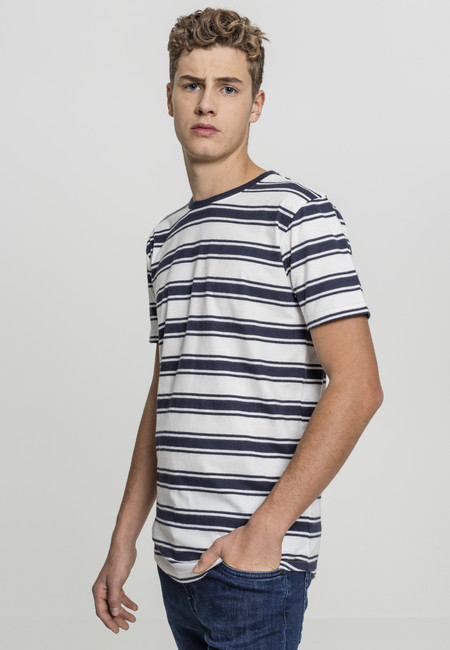Urban Classics Double Stripe Long Shaped Tee offwhite/navy - M
