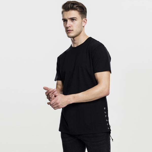 Pánské tričko Urban Classics Lace Up Long Tee black - M