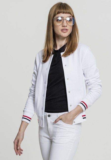 Urban Classics Ladies 3-Tone College Sweat Jacket white/firered/navy