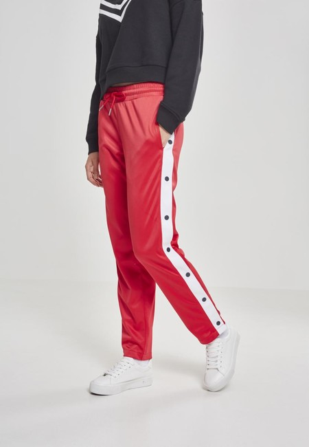 Urban Classics Ladies Button Up Track Pants fire red/white/navy - M