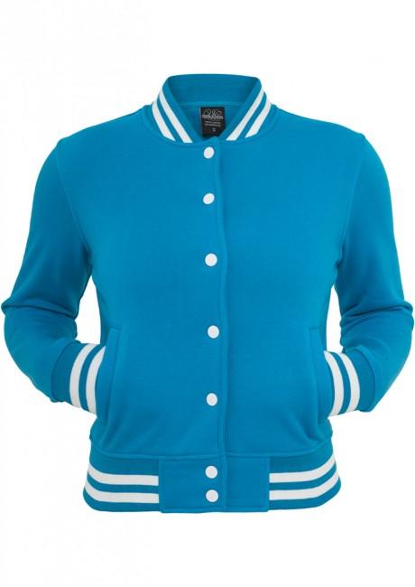 Urban Classics Ladies College Sweatjacket turquoise - XS