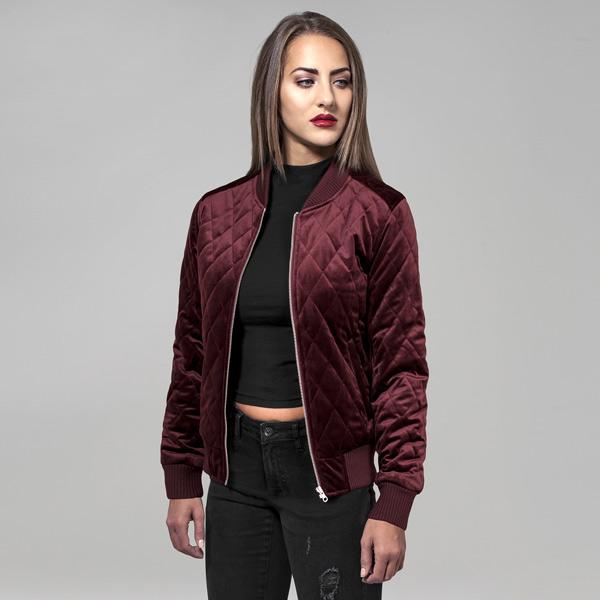 Bunda Urban Classics Ladies Diamond Quilt Velvet Jacket burgundy - XS
