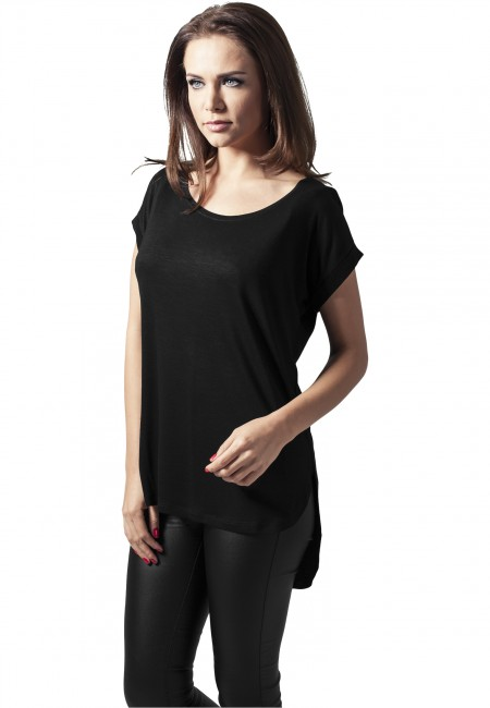 Urban Classics Ladies Long Back Shaped Slub Tee black - M
