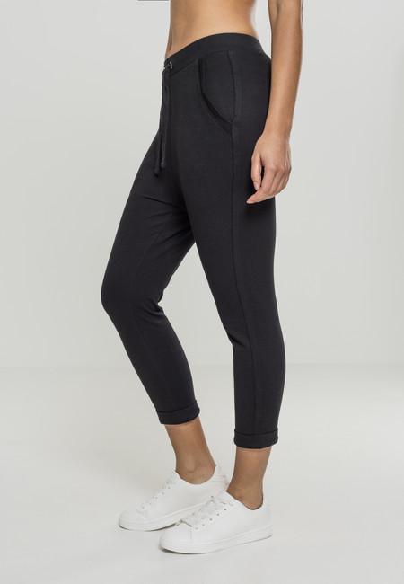 Levně Urban Classics Ladies Open Edge Terry Turn Up Pants black