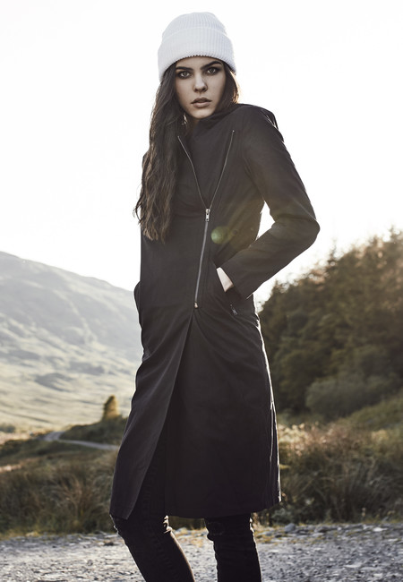 Urban Classics Ladies Peached Long Asymmetric Coat black - XS