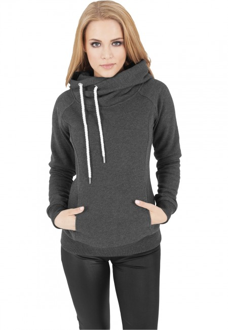 Urban Classics Ladies Raglan High Neck Hoody charcoal