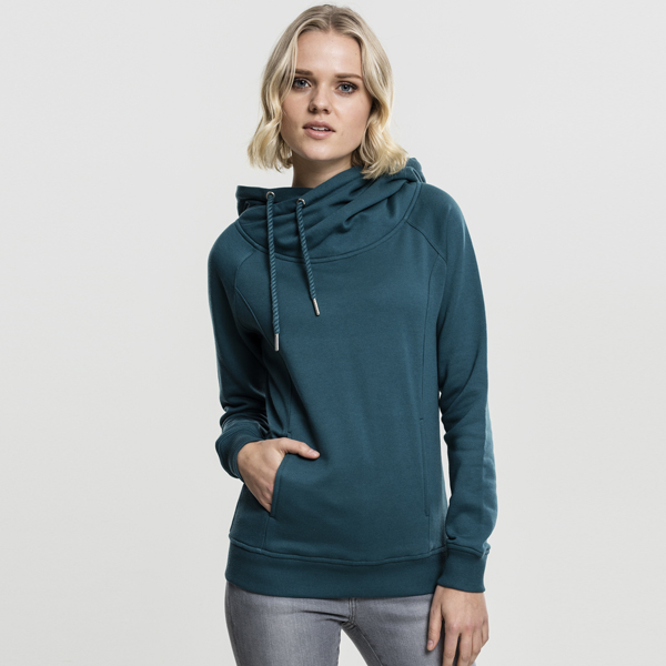 Dámská mikina Urban Classics Ladies Raglan High Neck Hoody teal