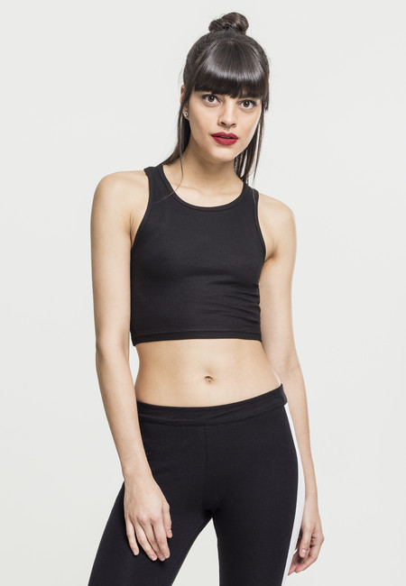 Urban Classics Ladies Rib Cropped Top black