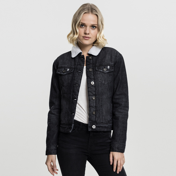 Urban Classics Ladies Sherpa Denim Jacket black washed