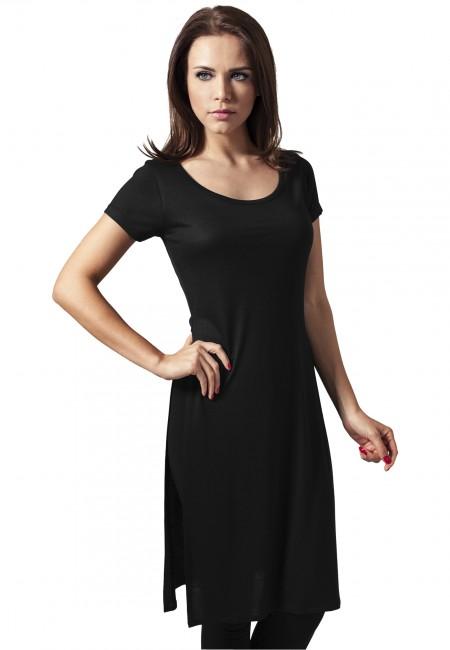 Urban Classics Ladies Side Slit Viscose Long Tee black - M