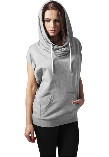 Levně Urban Classics Ladies Sleeveless Terry High Neck Hoody grey