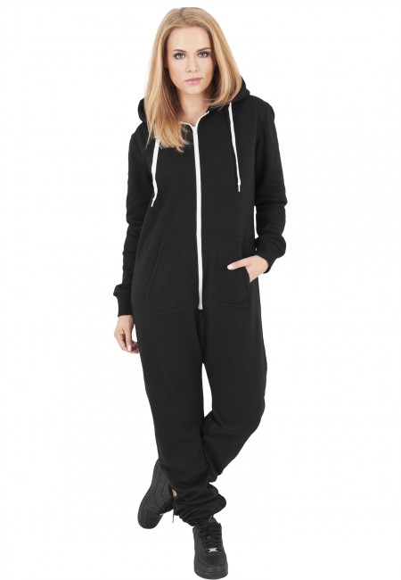 Urban Classics Ladies Sweat Jumpsuit blk/wht