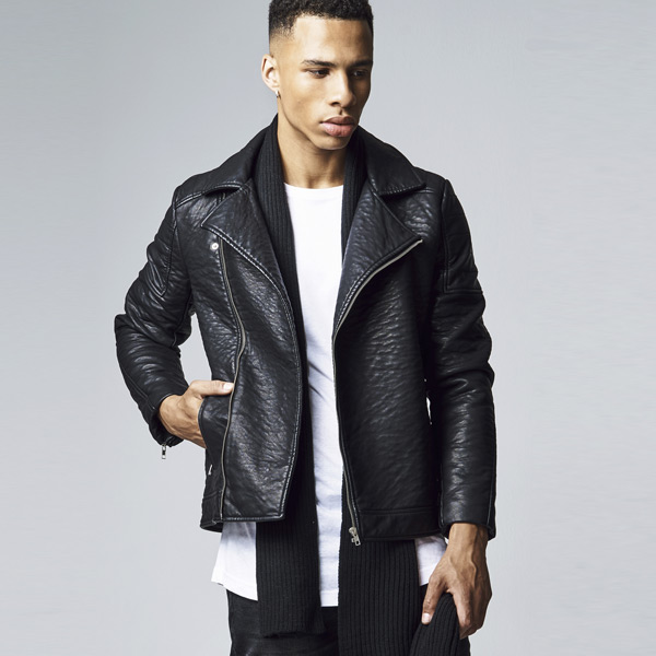 Urban Classics Leather Imitation Biker Jacket black