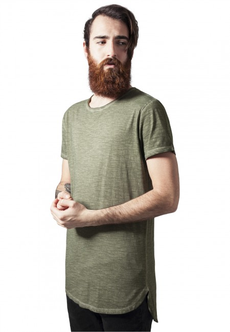 Urban Classics Long Back Shaped Spray Dye Tee olive - M