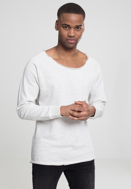 Urban Classics Long Open Edge Terry Crewneck offwhite melange