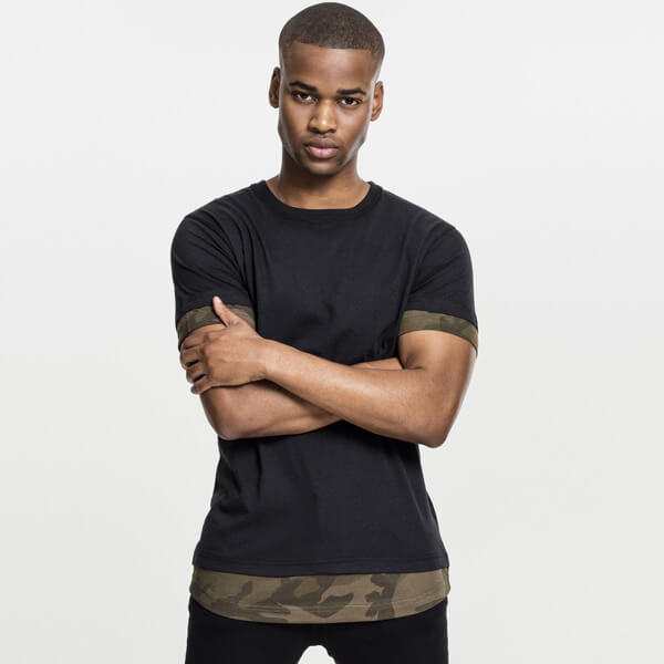 Urban Classics Long Shaped Camo Inset Tee black/olive camo - M
