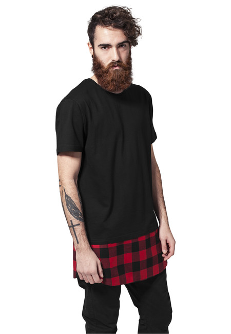 Urban Classics Long Shaped Flanell Bottom Tee blk/blk/red - M