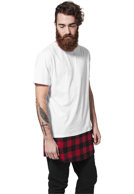 Urban Classics Long Shaped Flanell Bottom Tee wht/blk/red - M