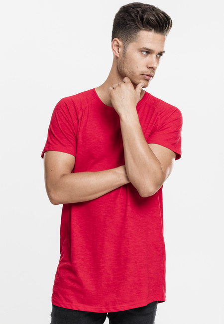 Urban Classics Long Shaped Slub Raglan Tee fire red - M
