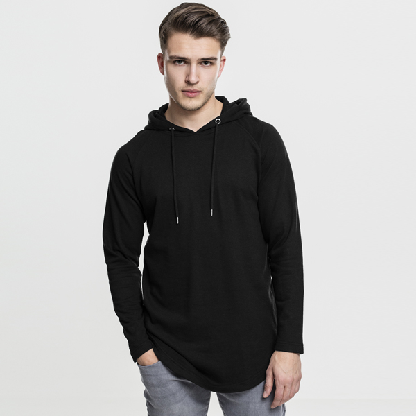 Pánská mikina Urban Classics Long Shaped Terry Hoody black - M
