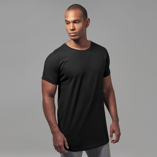 Urban Classics Long Shaped Turnup Tee black - M