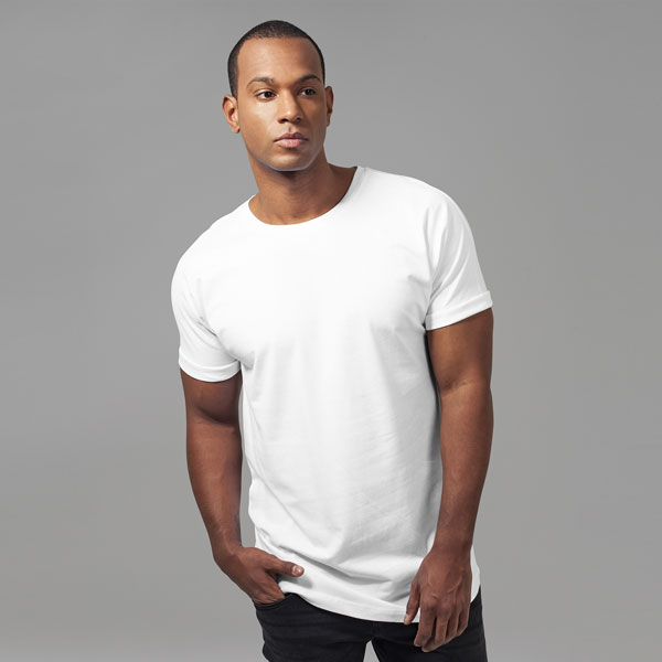 Urban Classics Long Shaped Turnup Tee white - M