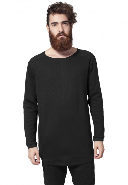 Urban Classics Long Shaped Waffle L/S Tee black - M