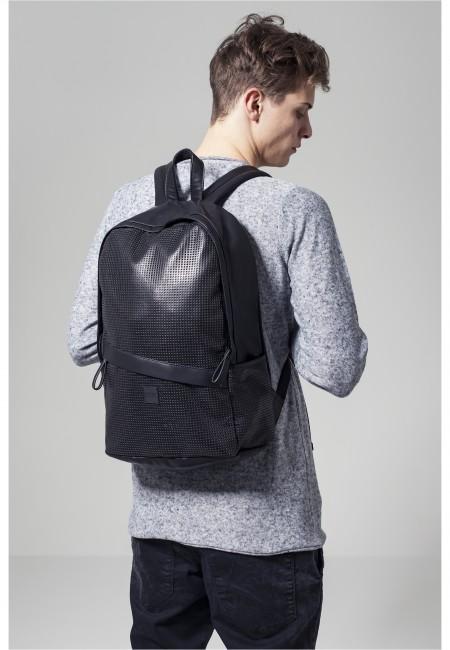 Urban Classics Perforated Leather Imitation Backpack black - UNI