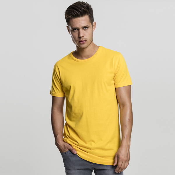 Pánské tričko Urban Classics Shaped Long Tee chrome yellow - M